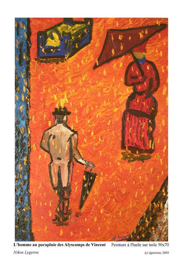 L'homme au parapluie des Alyscamps de Vincent
