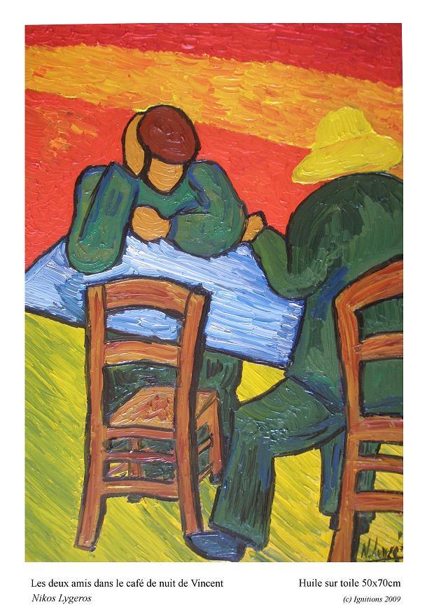 Les deux amis dans le café de nuit de Vincent