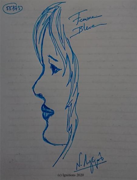 55173 - Femme Bleue. (Dessin)