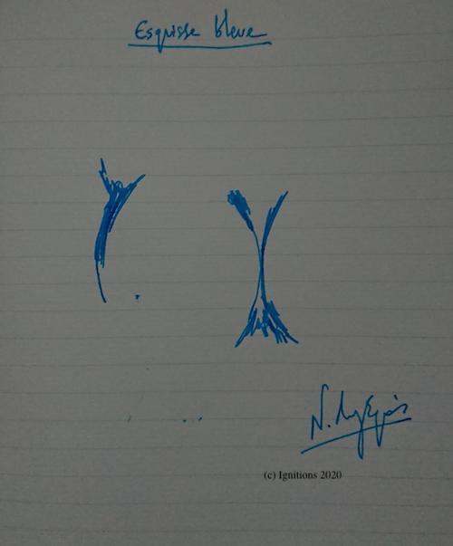 55175 - Esquisse bleue. (Dessin)