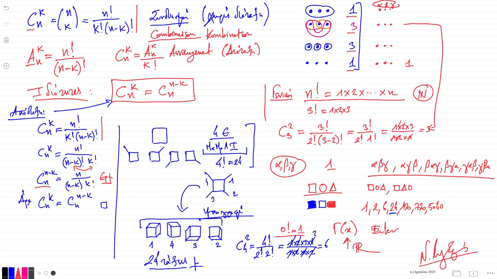 55847 - Συνδυασμοί, Διατάξεις, Pascal, Newton, Leibniz. (Dessin)