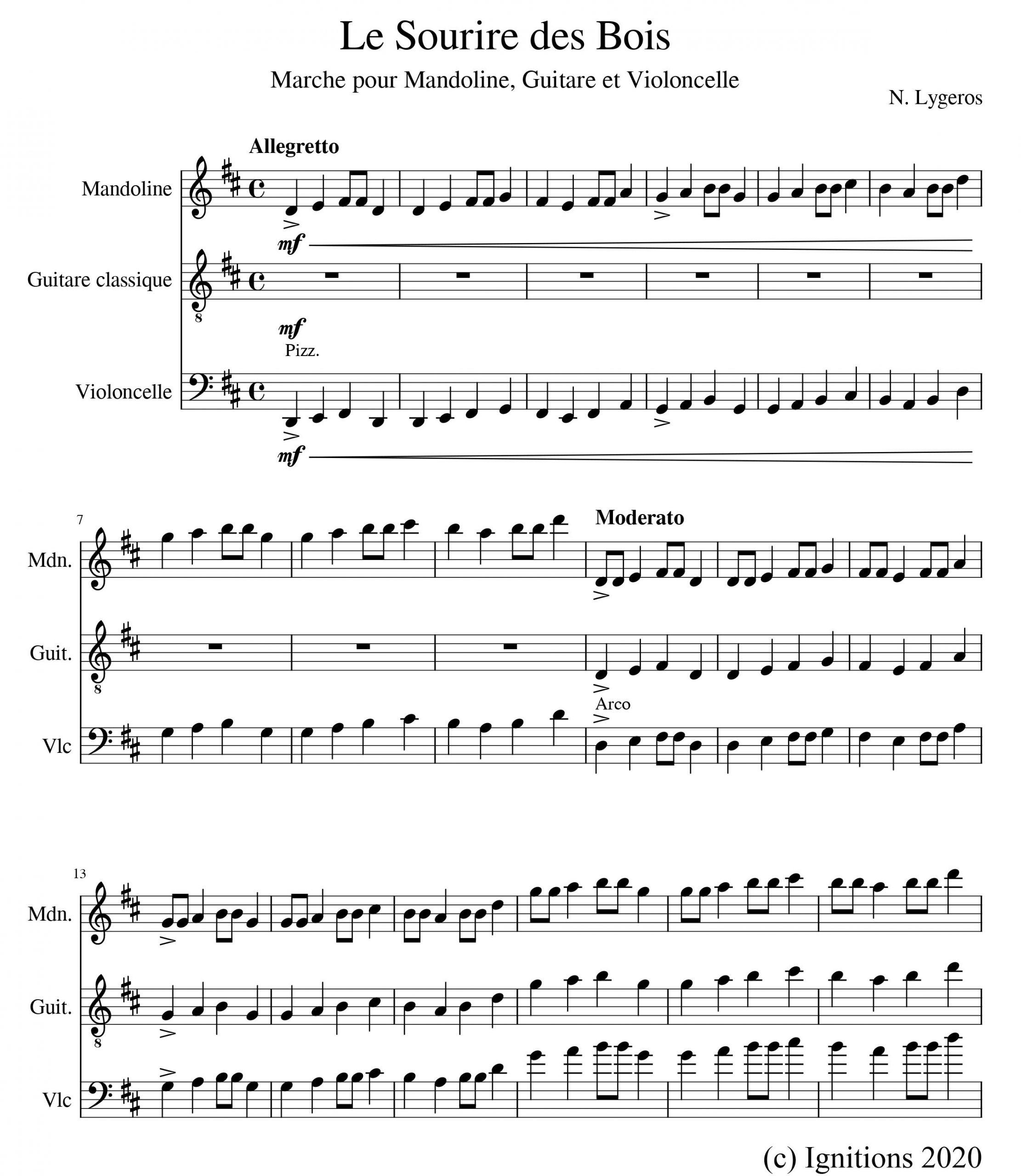 56419-Le Sourire des Bois. (Marche pour Mandoline, Guitare et Violoncelle).