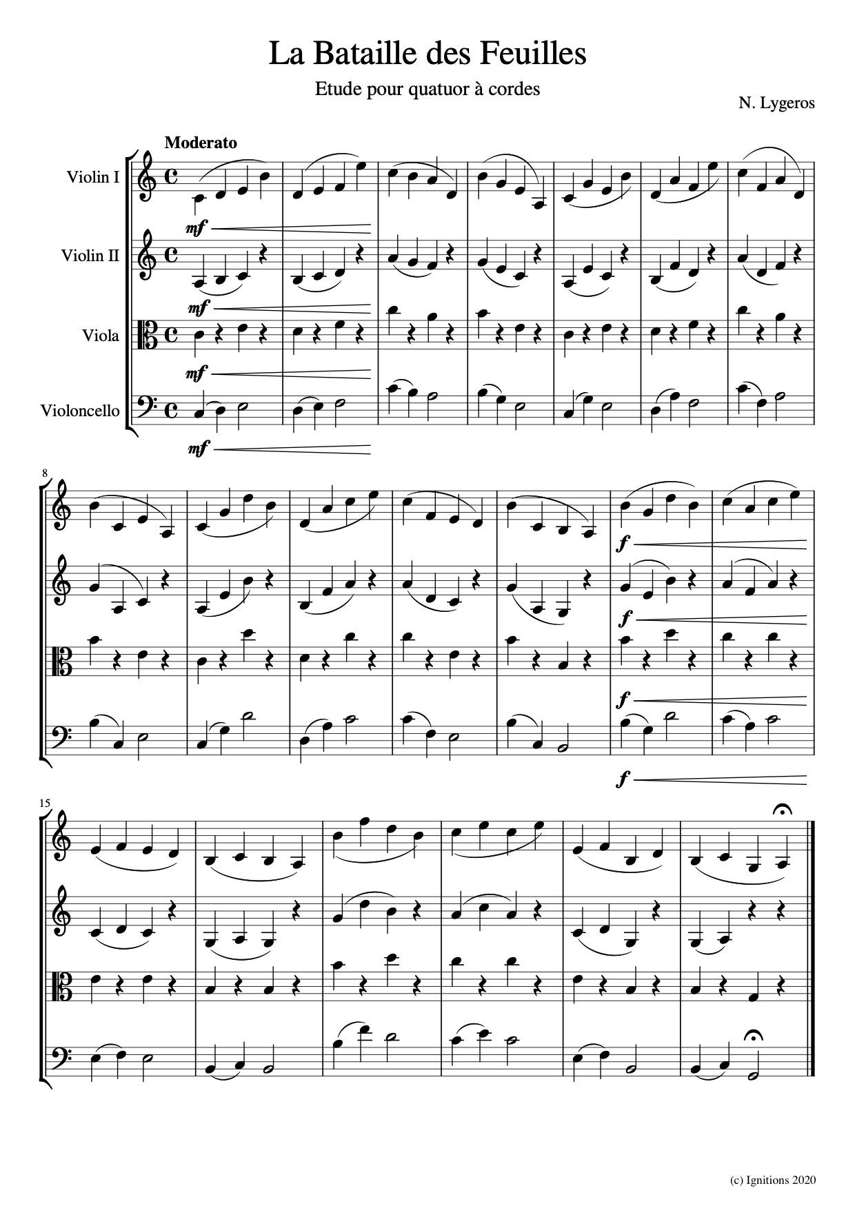 56531 - La Bataille des Feuilles. (Etude pour quatuor à cordes)
