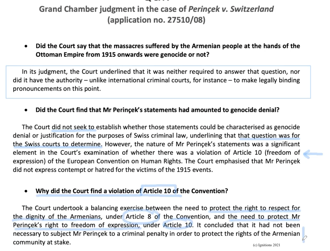 58454 - e-Μάθημα III: Q&A Grand Chamber judgment in the case of Perinçek v. Switzerland. (Dessin)