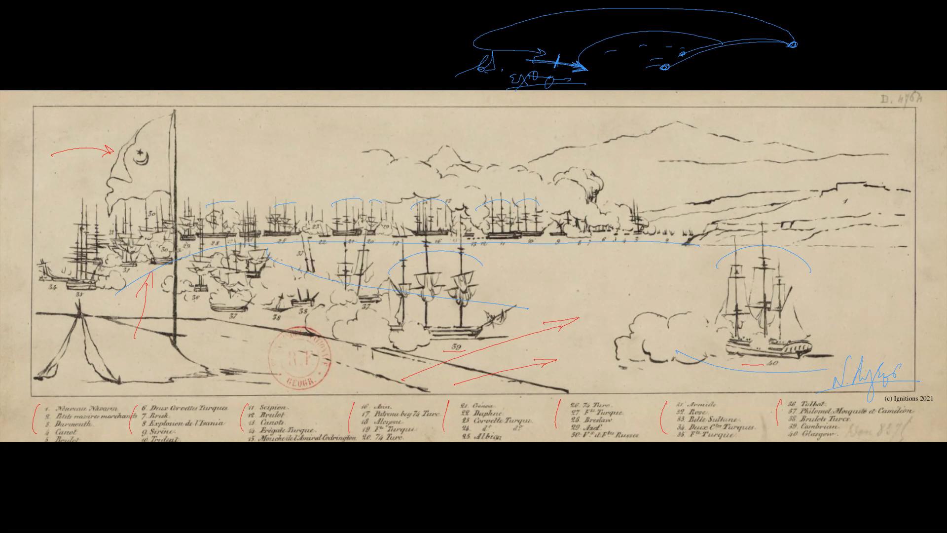 59213 - II - Ναυαρίνο: Η θαλάσσια Απελευθέρωση. Επανάσταση VI. (Dessin)