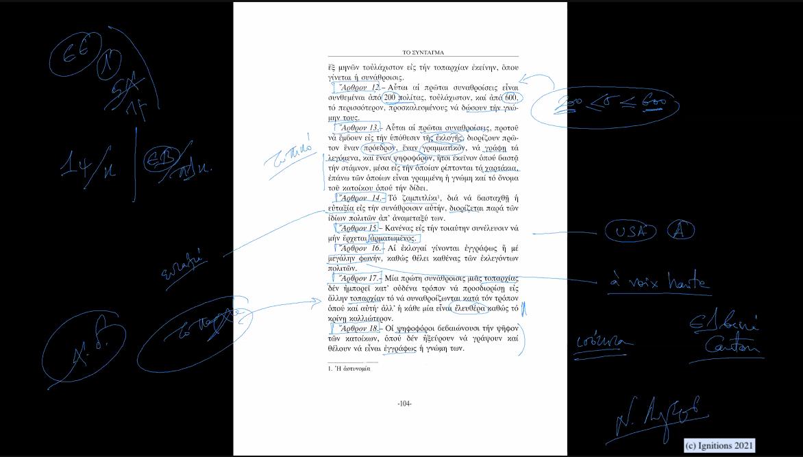59271 - ΙII - Το επαναστατικό σύνταγμα του Ρήγα Φεραίου. Επανάσταση VII. (Dessin)