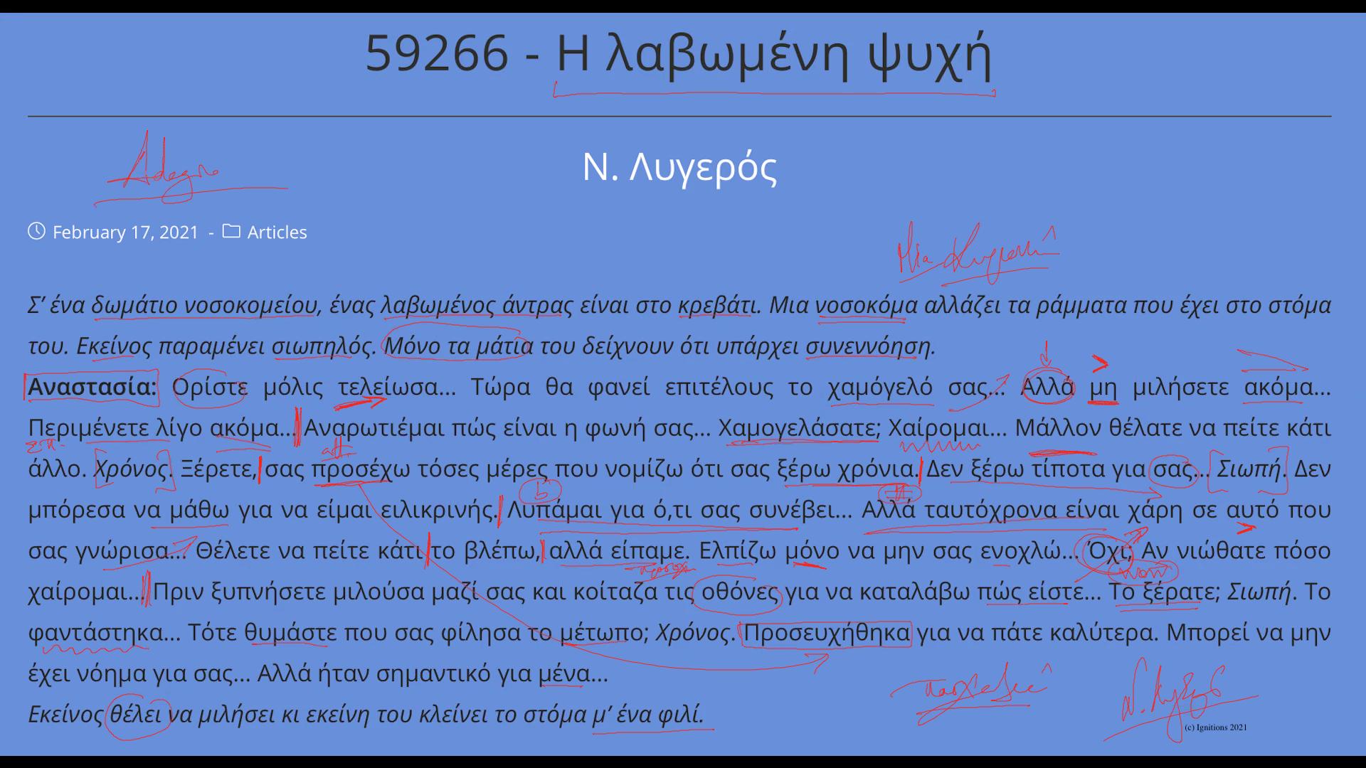 """59726 - e-Μάθημα: Υποκριτική του """"Η λαβωμένη ψυχή"""". (Dessin)"""