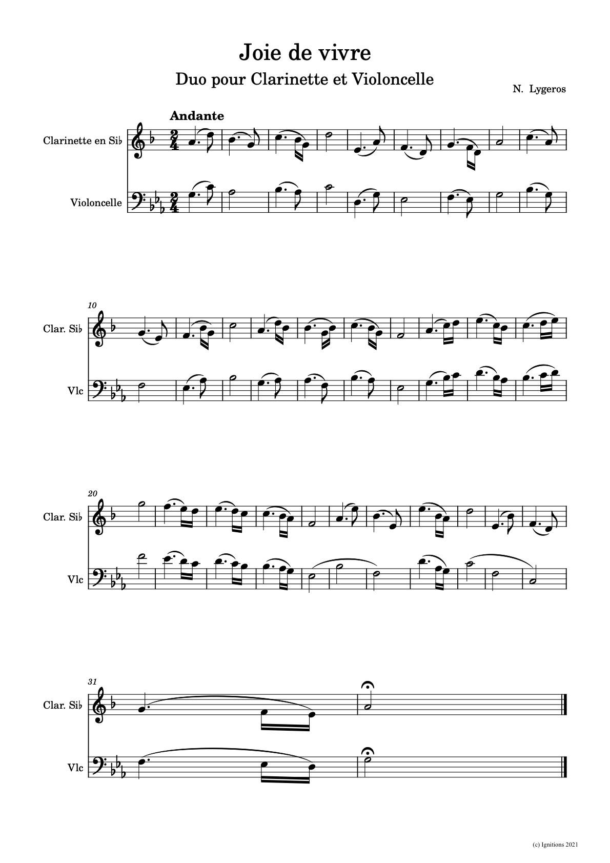 60391 - Joie de vivre. (Duo pour Clarinette et Violoncelle)