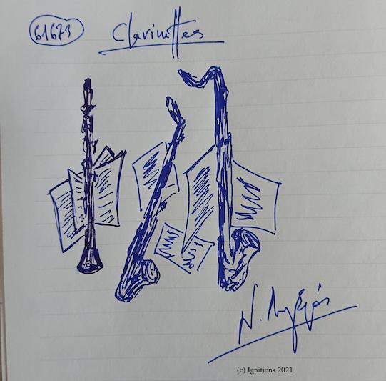61673 - Clarinettes. (Dessin)