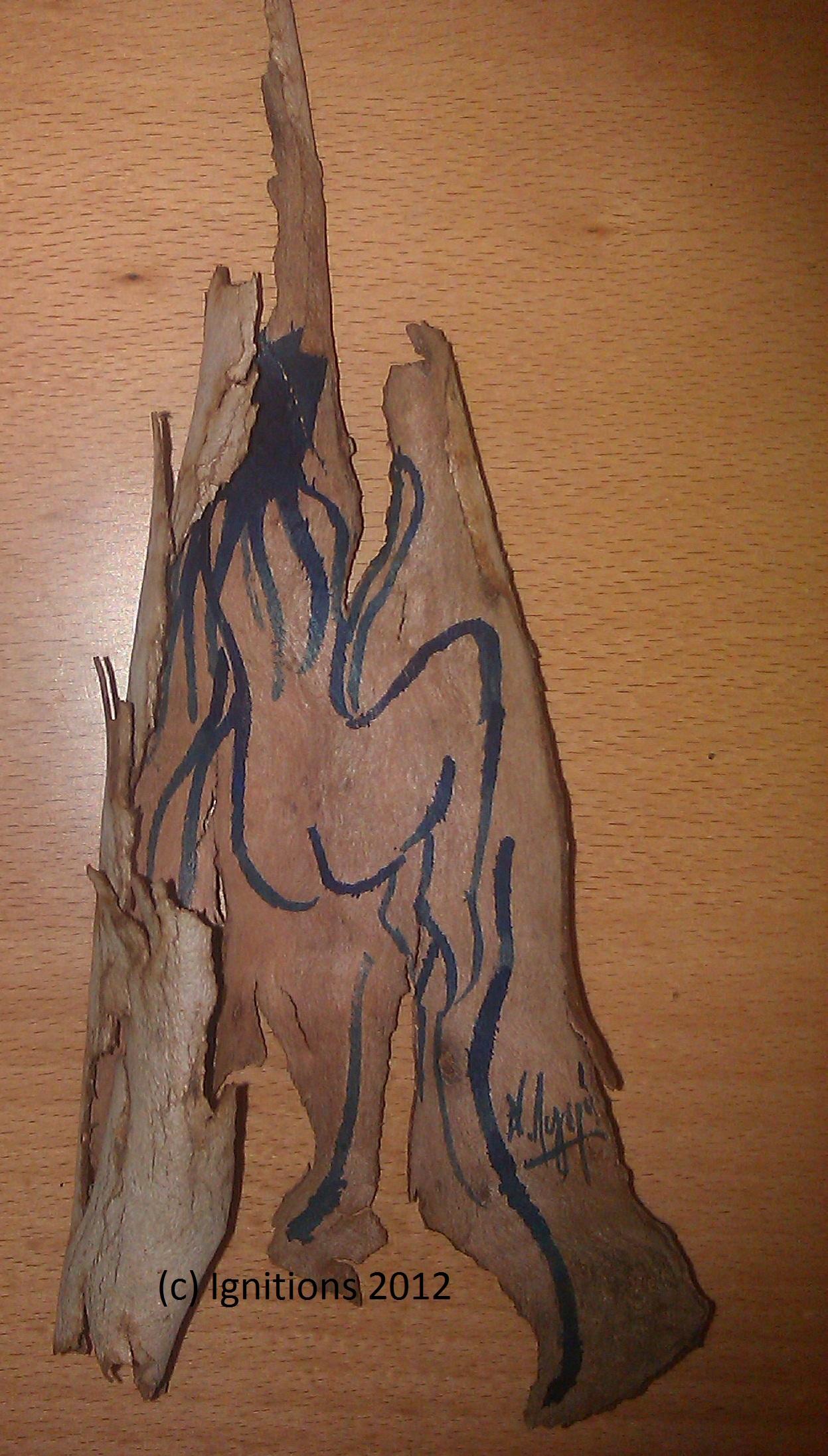 Nymphe des bois. (Encre de Chine sur écorce d'écalyptus).