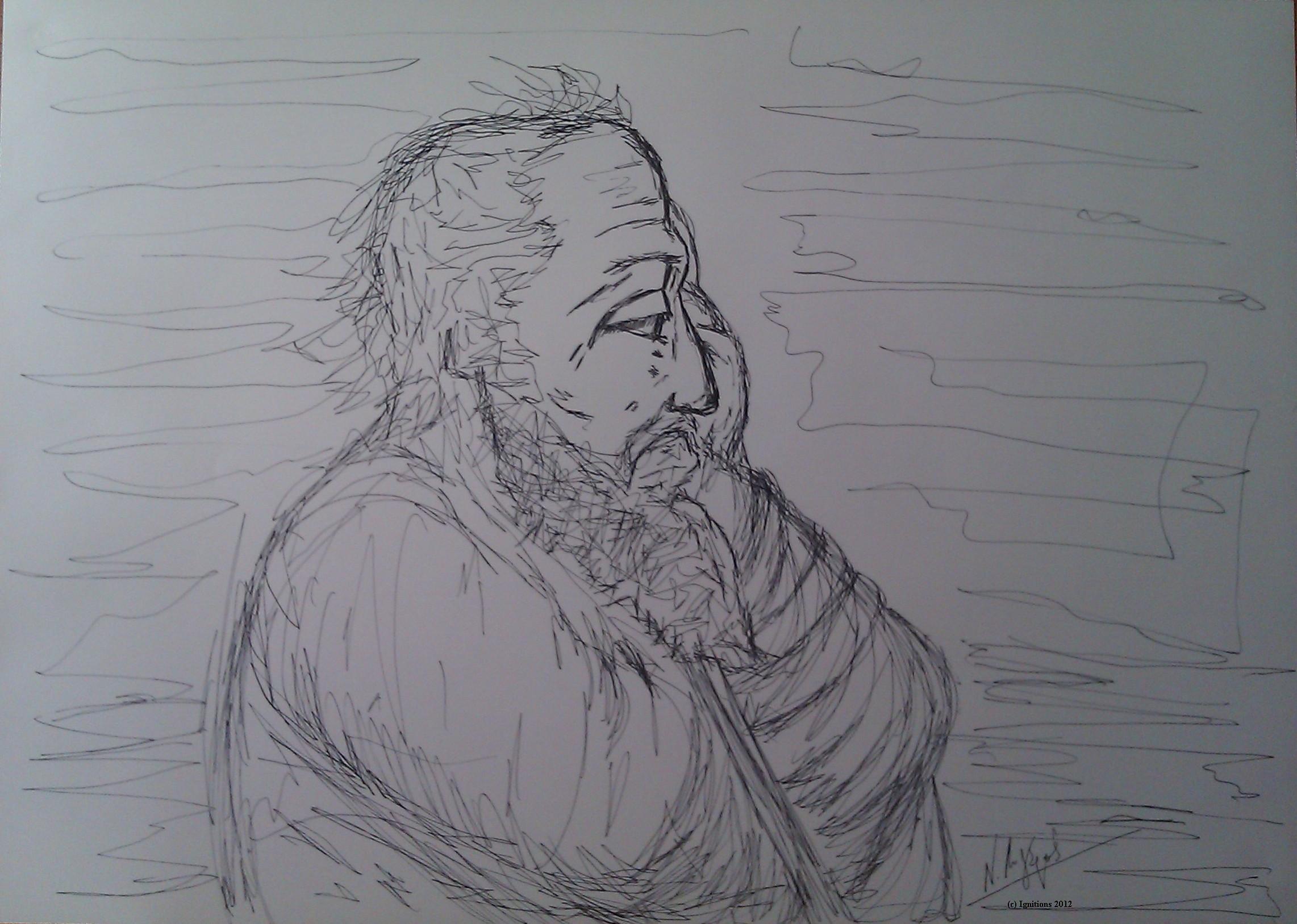 Esquisse d'un vieillard léonardien (Feutre sur papier Schoeller Durex 70x50).