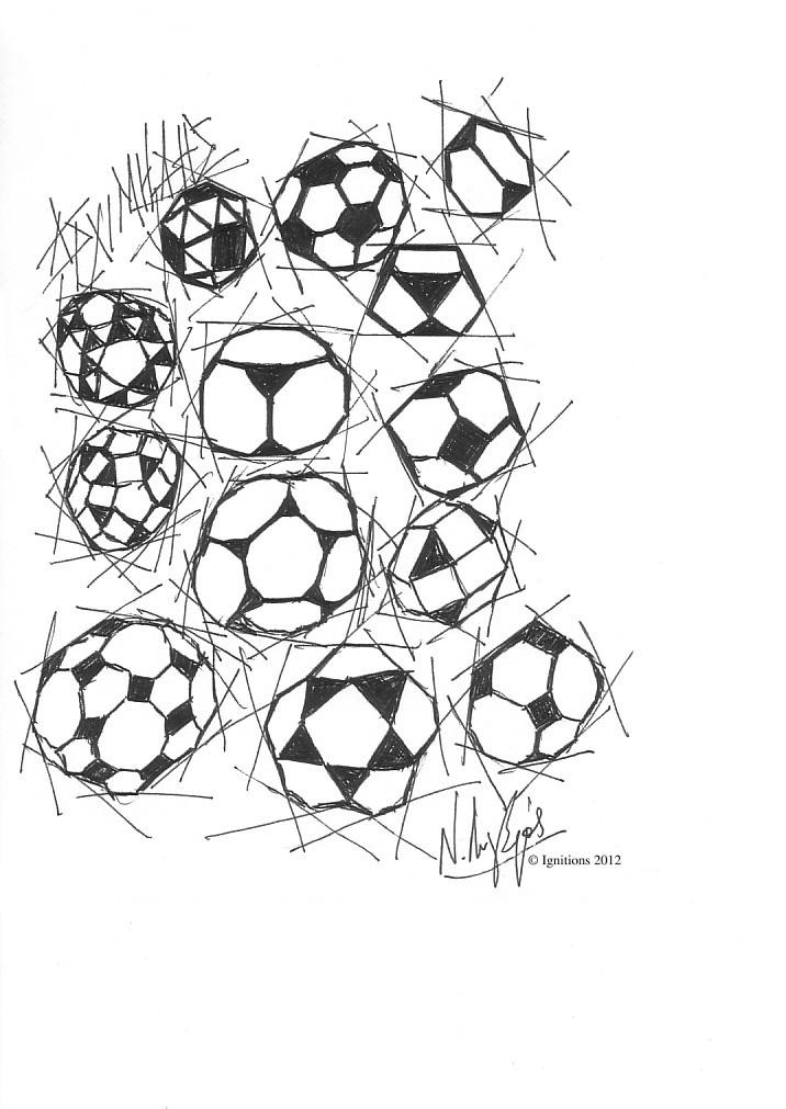 Solides archimédiens. (Dessin sur papier Canson extra blanc, A5, 14.8x21).