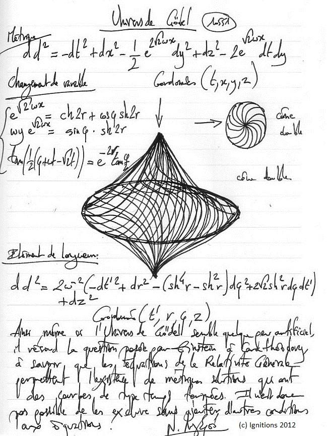 Univers de Gödel. (Dessin sur Cahier).