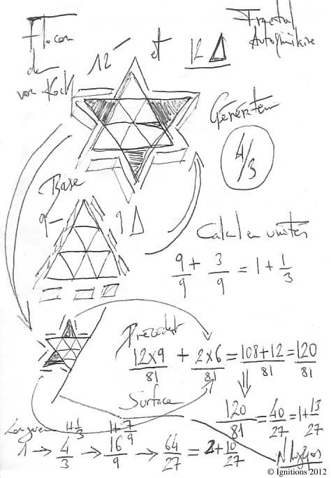 Étude sur le Flocon de von Koch. (Dessin sur papier B6, 12.5x17.5).