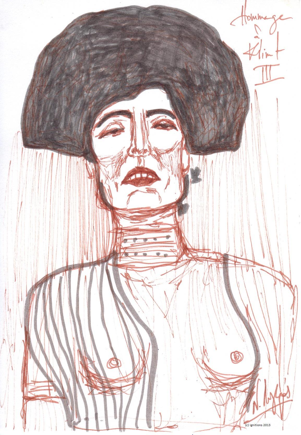 Hommage à Klimt III. (Sanguine sur papier Canson extra blanc, grain adouci 14.8x21, A5).