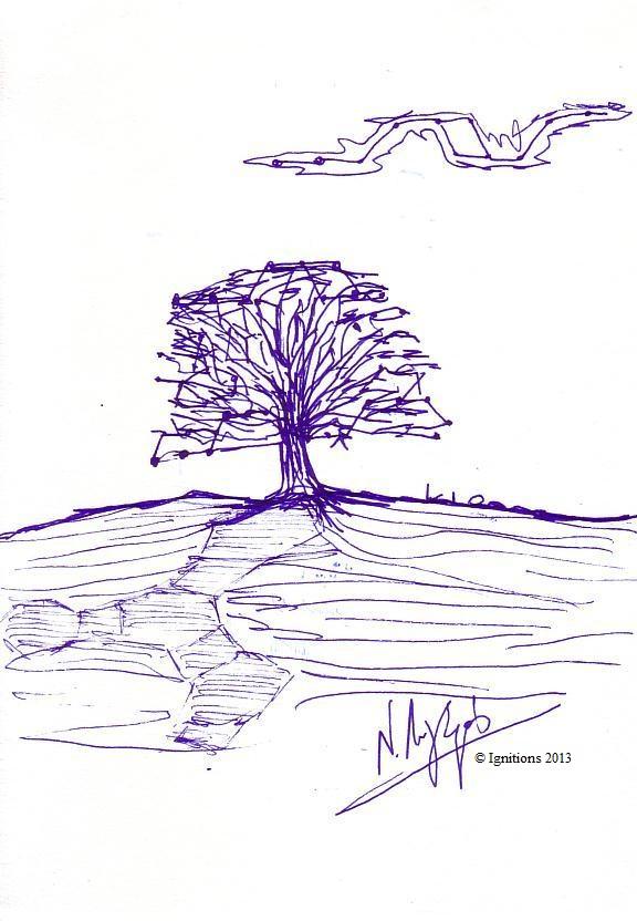 Βελανιδιά Ζεόλιθου. (Feutre sur papier A5)