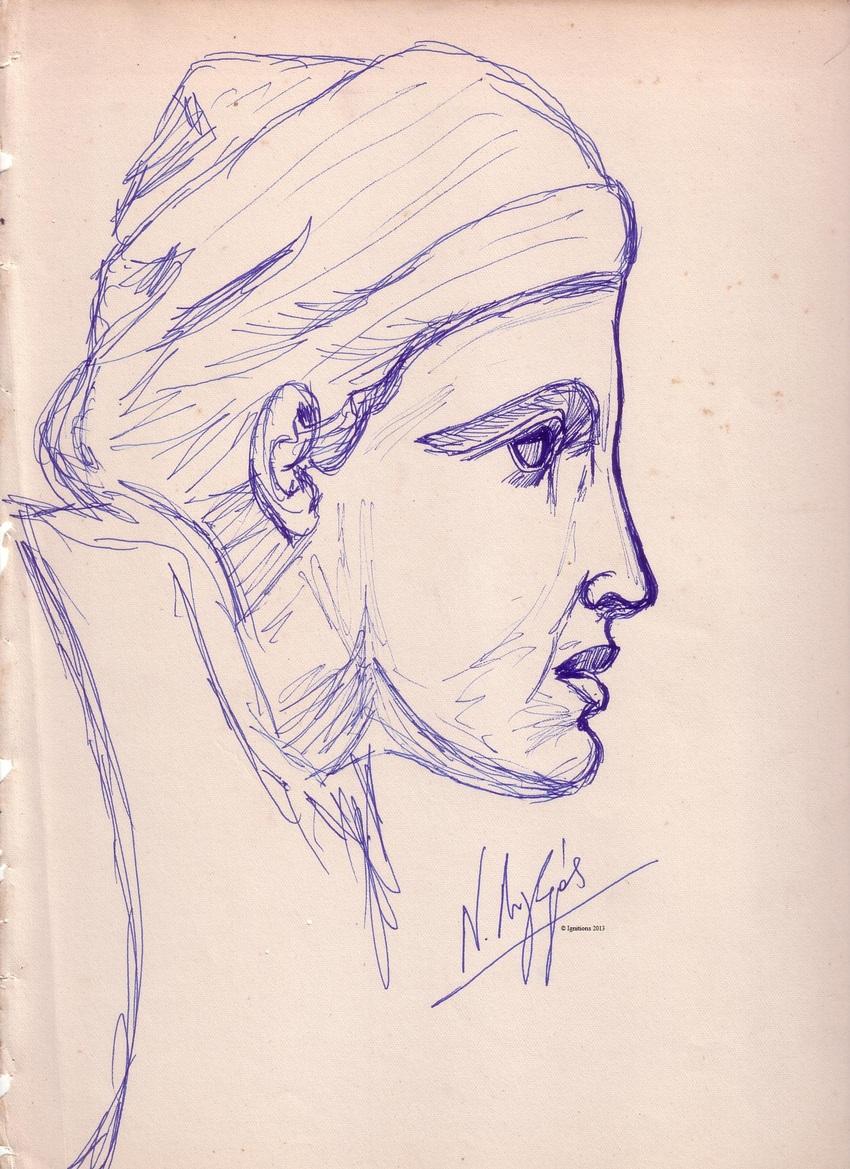 Νεαρή Λαπιθίδα Ολυμπίας. (Feutre sur papier ancien XVIII)