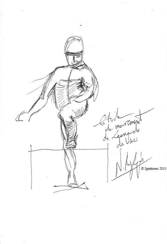 Etude mouvement de Leonardo da Vinci. (Feutre sur papier A5)