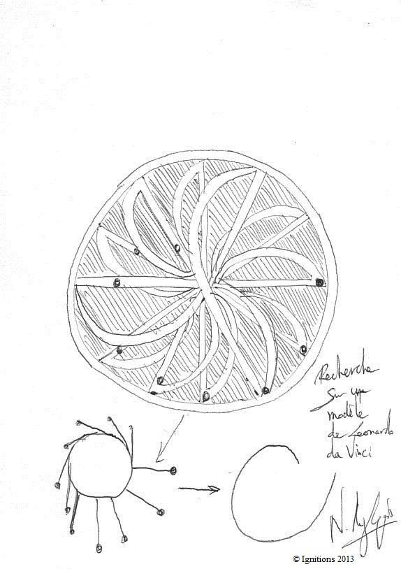 Recherche sur un modèle de Leonardo da Vinci. (Feutre sur papier A5)