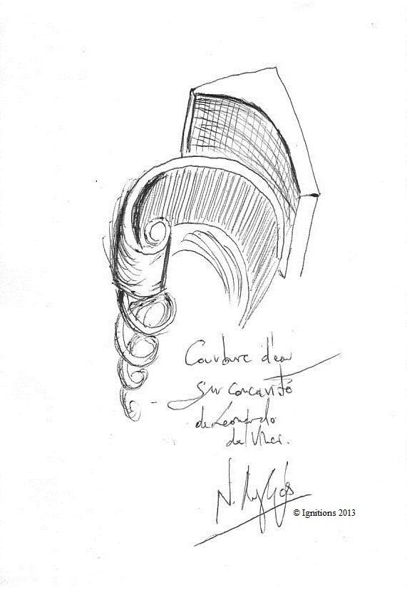 Courbure d'eau sur concavité de Leonardo da Vinci. (Feutre sur papier A5)