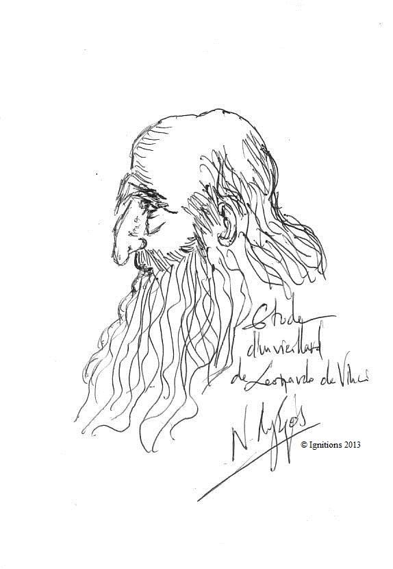 Etude d'un vieillard de Leonardo da Vinci. (Feutre sur papier A5)