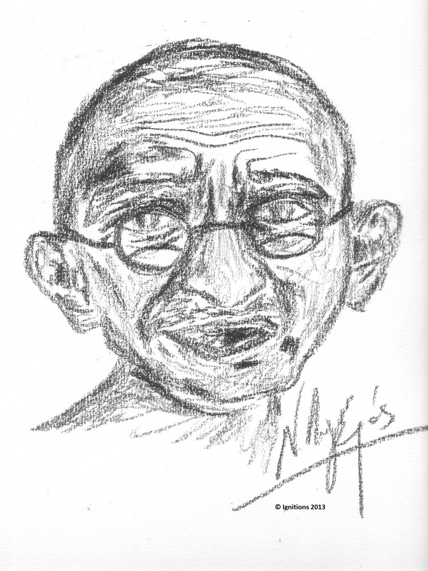 Gandhi (1869-1948) Fusain sur papier Canson 31x42