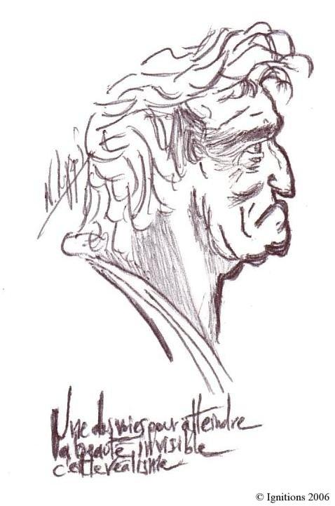 Etude de profil de vieux d'après Leonardo da Vinci, Une des voies pour atteindre la beauté invisible c'est le réalisme.