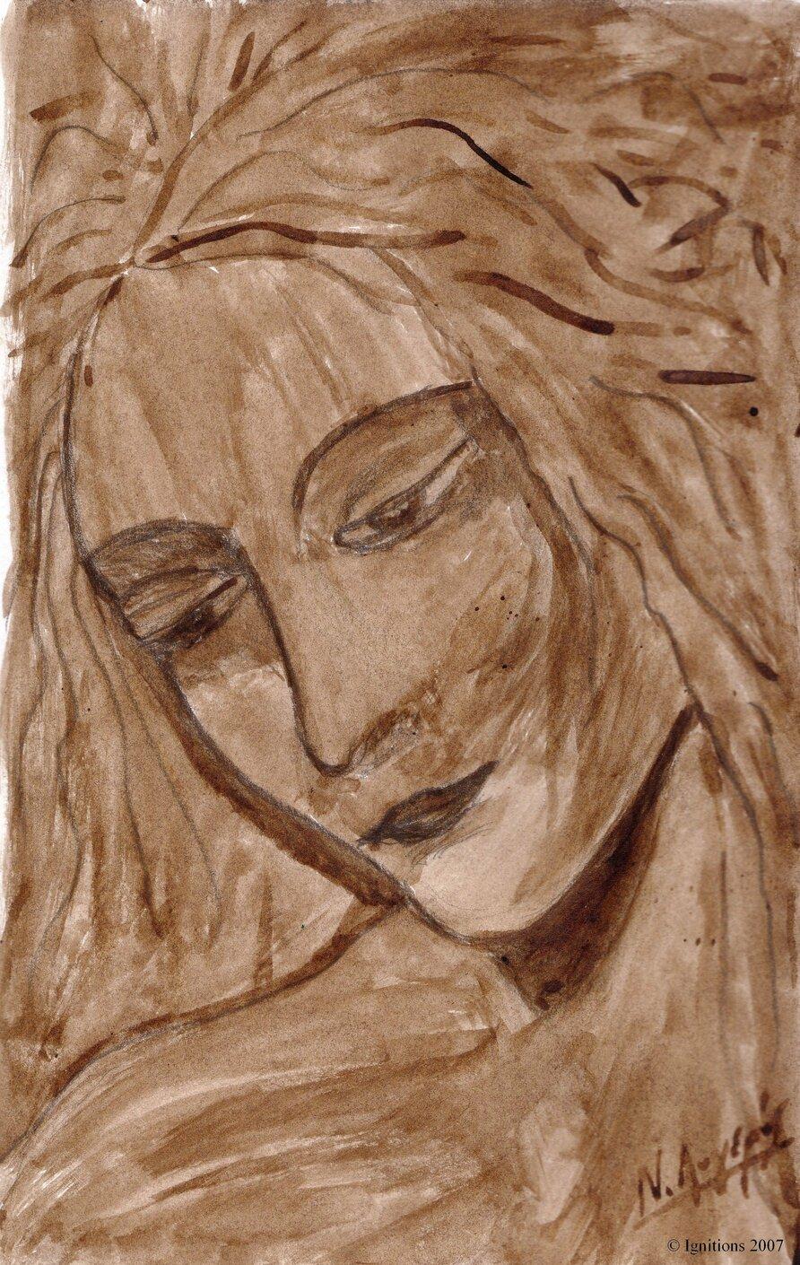 Etude de tête de jeune fille d'après Leonardo da Vinci.