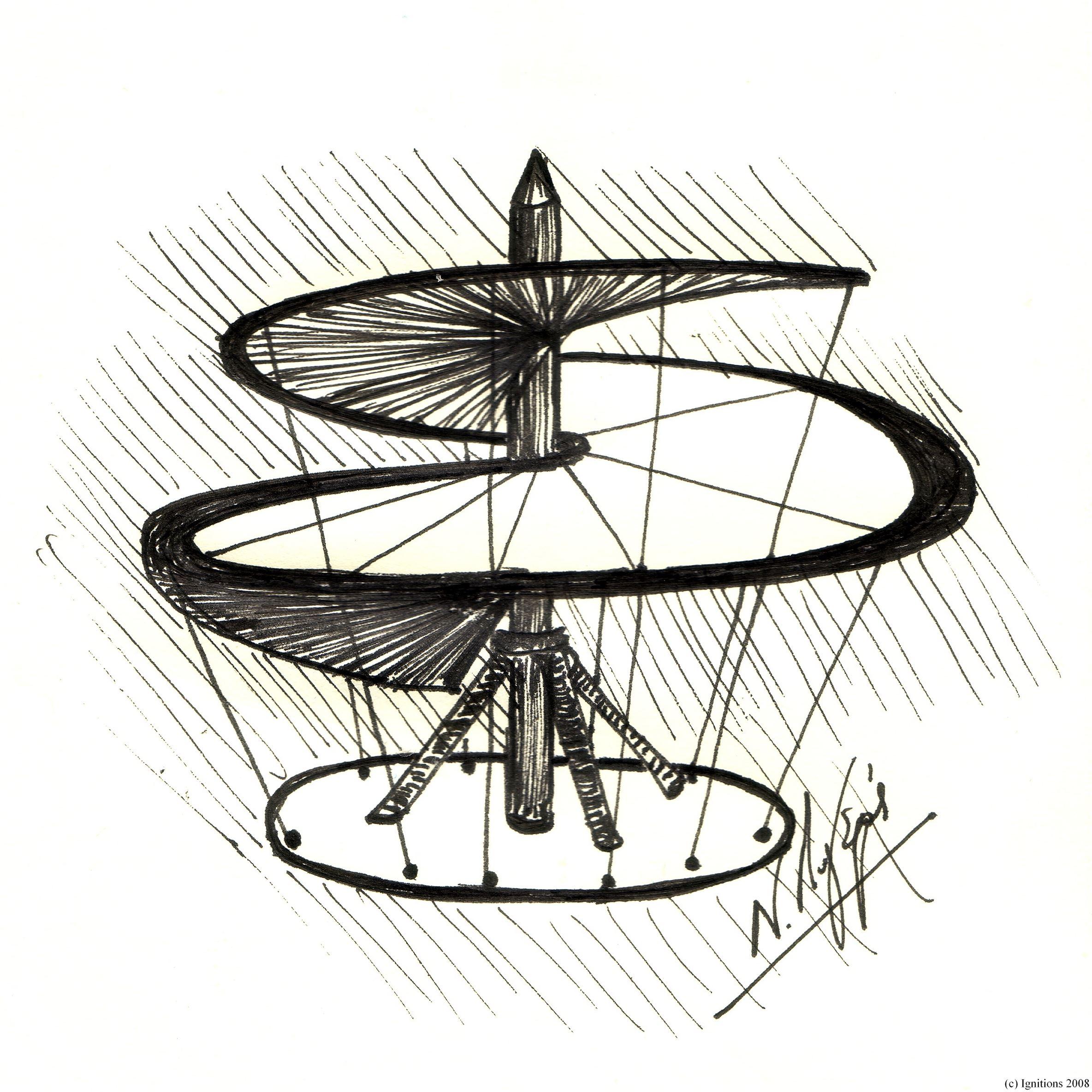 Ιπτάμενη μηχανή του Leonardo da Vinci. Machine volante de Leonardo da Vinci