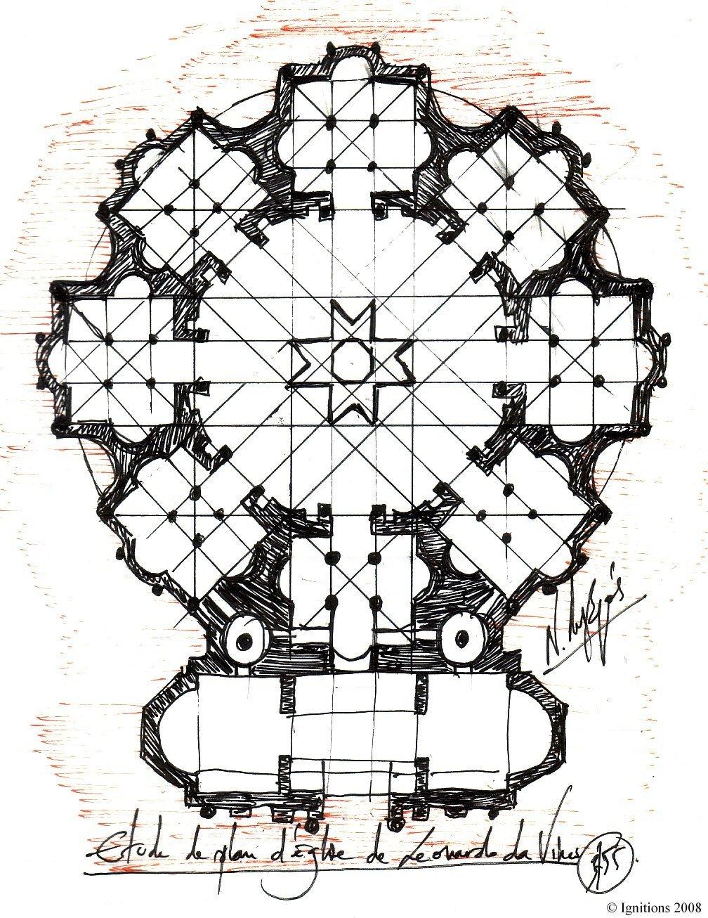 Etude de plan d'église de Leonardo da Vinci.