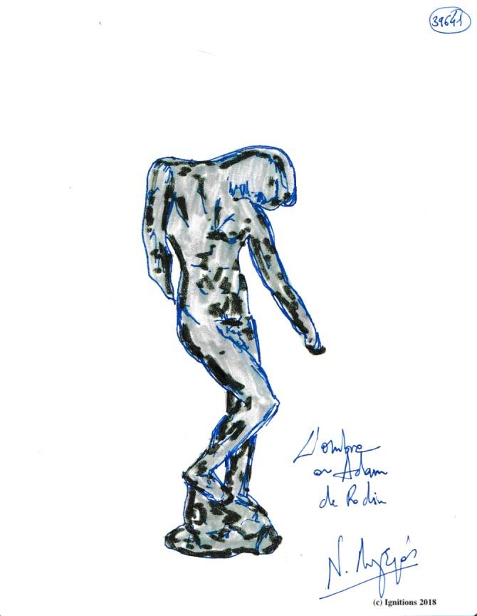L'ombre ou Adam de Rodin. (Dessin)