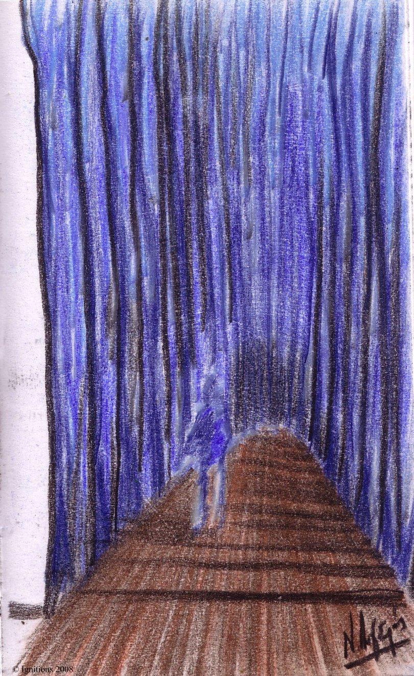 Ombre humaine dans la forêt bleue.