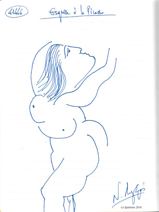 Esquisse à la Picasso. (Dessin)