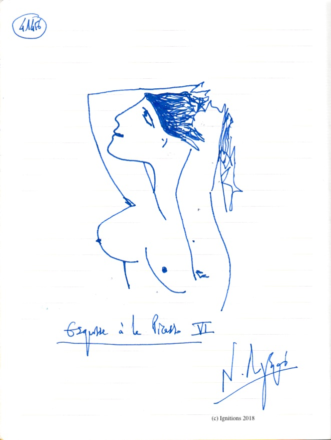 Esquisse à la Picasso VI. (Dessin)