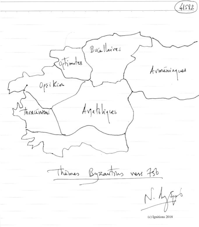 Thèmes Byzantins vers 750. (Dessin)