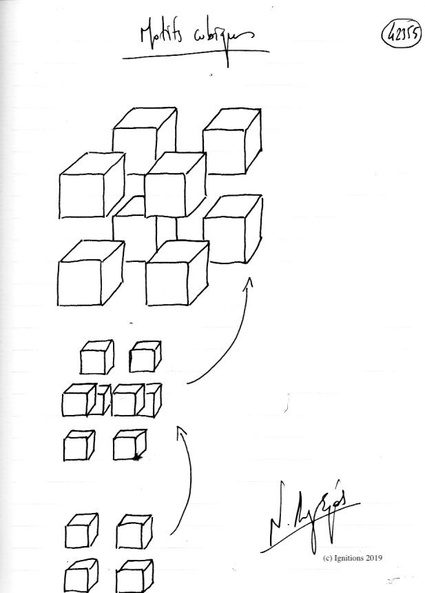 Motifs cubiques. (Dessin)