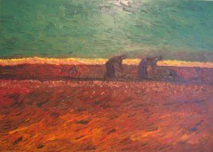 Entre terre brulée et ciel vert de Vincent.