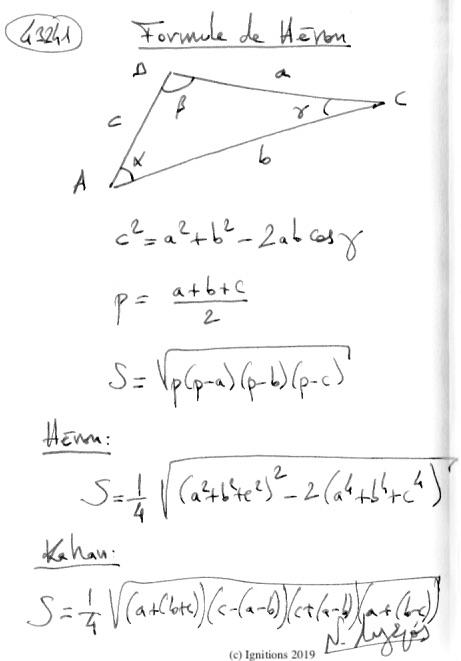 Formule de Héron. (Dessin)