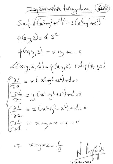 Isopérimétrie triangulaire. (Dessin)