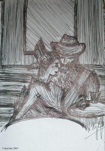 Esquisse pour le couple dans le café de la nuit de Vincent.