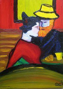 Le couple dans le café de la nuit de Vincent.