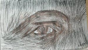 L'oeil de l'homme à l'oreille cassée.