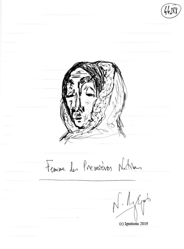 Femme des Premières Nations. (Dessin)