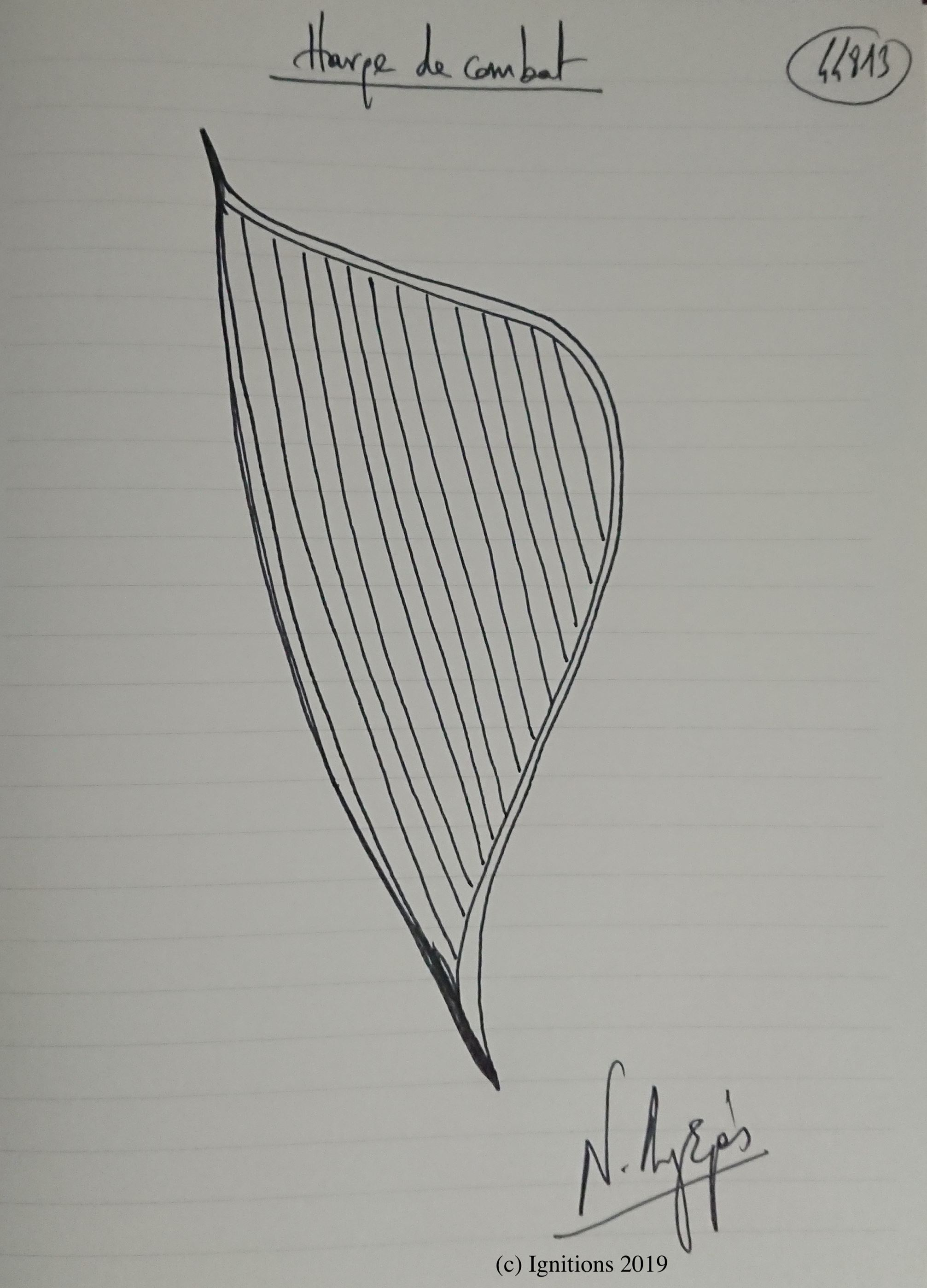 Harpe de combat. (Dessin)