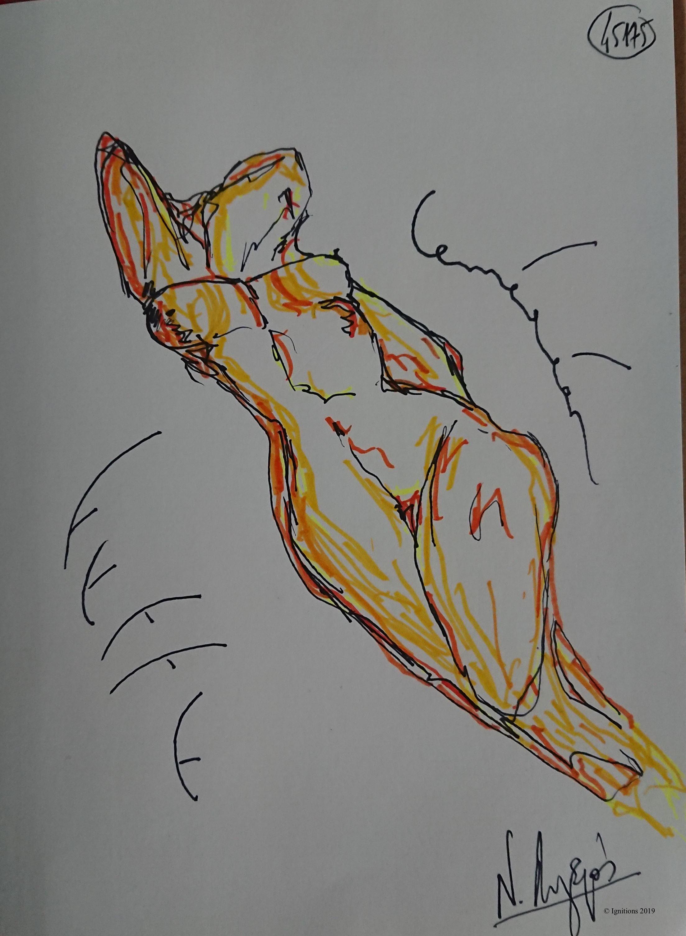 Femme caméléon. (Dessin)