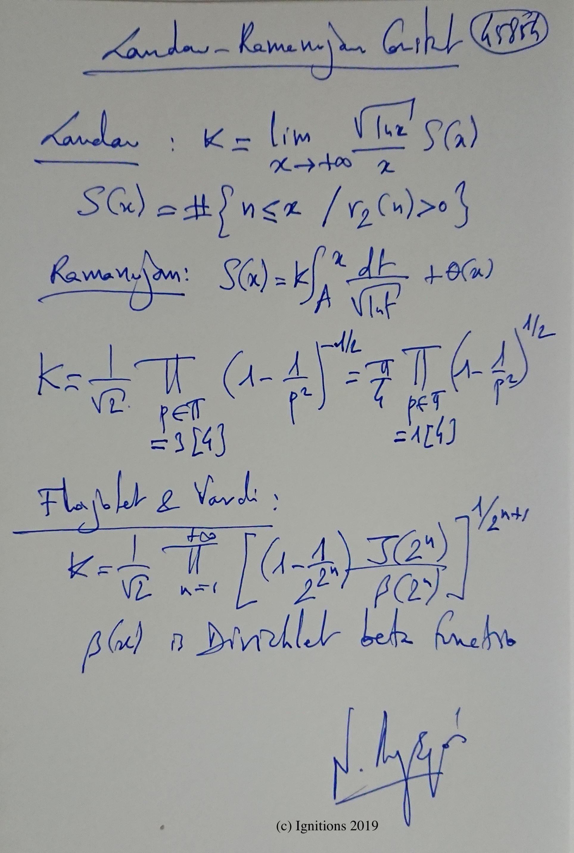 Landau-Ramanujan Constant. (Dessin)