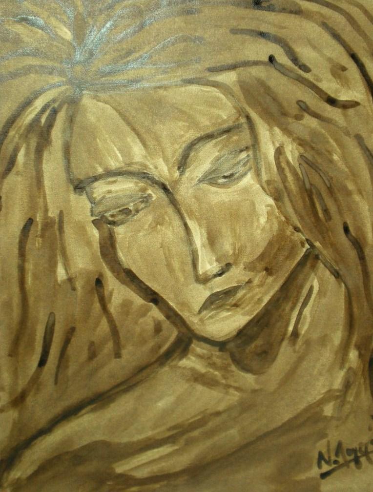Seconde étude pour tête de jeune fille de Leonardo da Vinci.