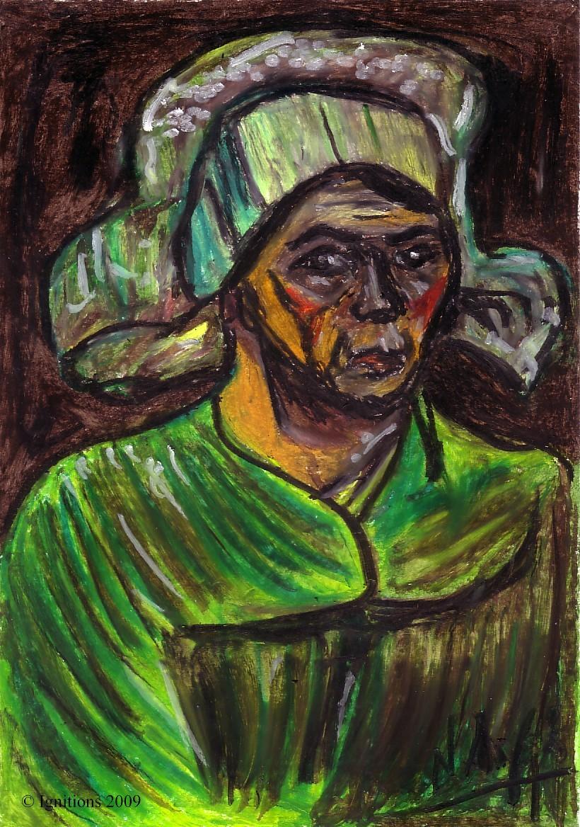 Tête d'une paysanne avec coiffe blanche de Vincent.
