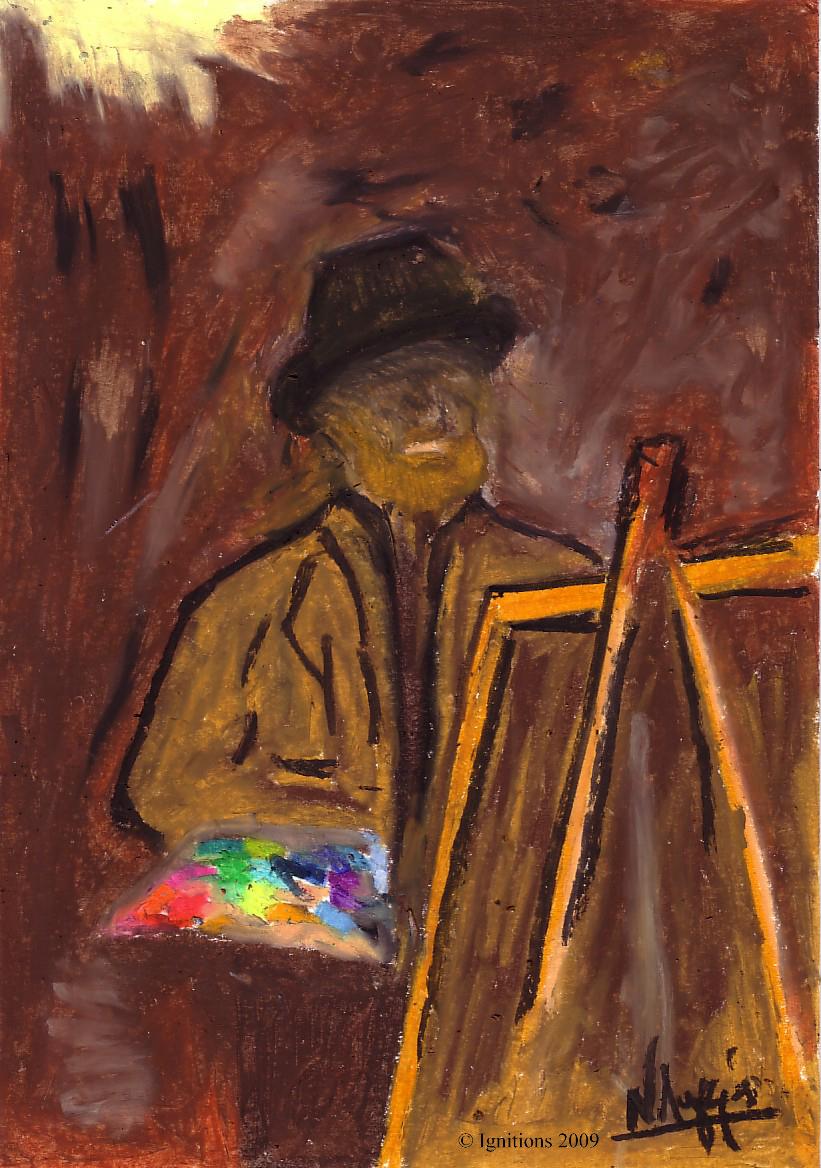 Autoportrait de Vincent en chapeau de feutre devant le chevalet.