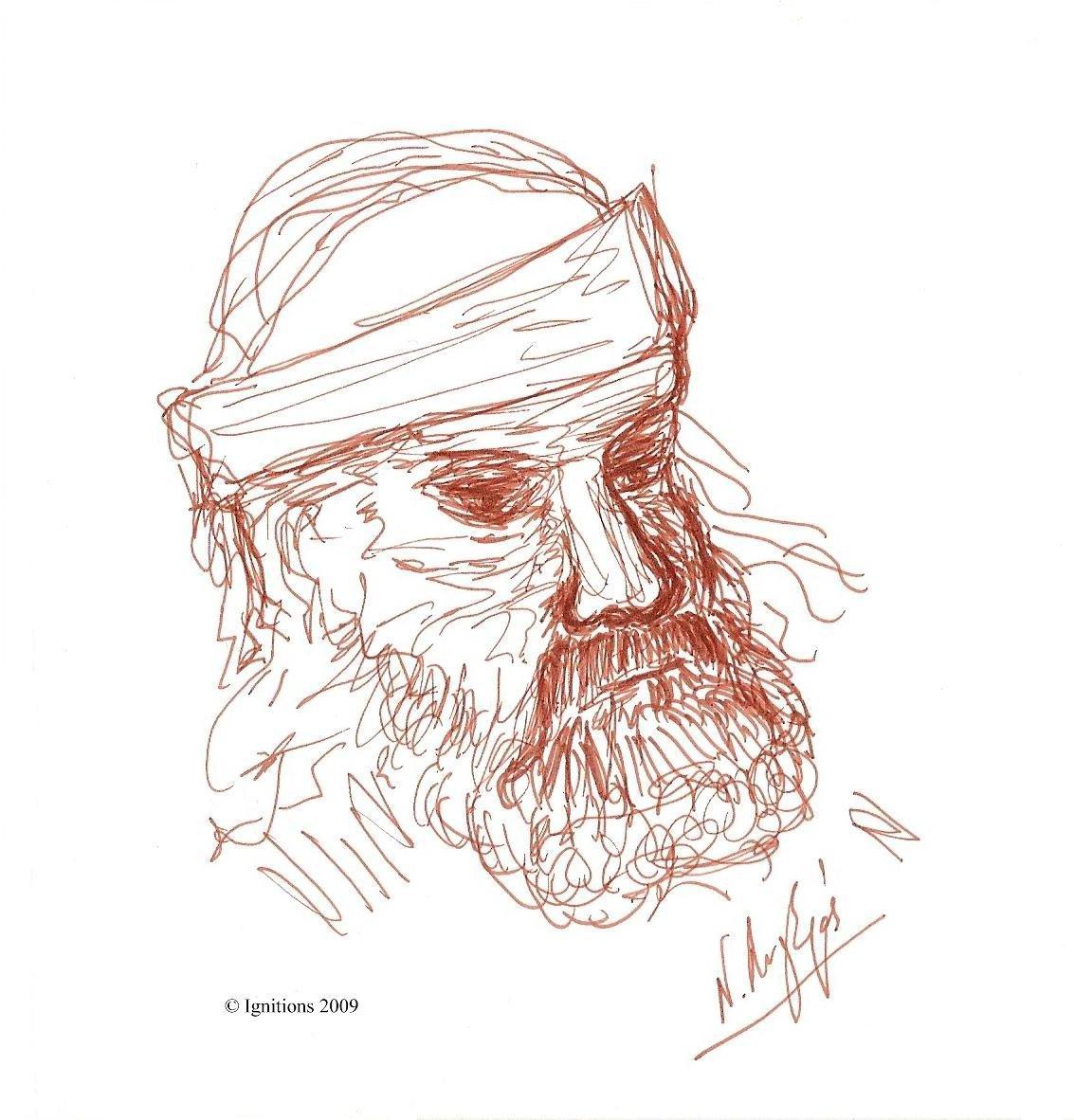 Etude de tête d'homme de Leonardo da Vinci.